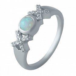 Серебряное кольцо с опалом и фианитами 000128440