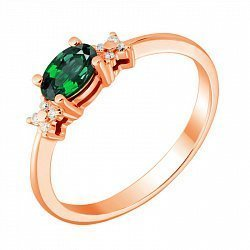 Кольцо из красного золота с изумрудом и бриллиантами 000134044