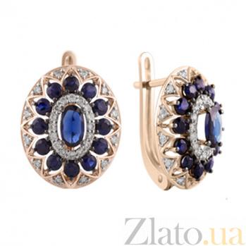 Золотые серьги с сапфирами и бриллиантами Анджали KBL--С2455/крас/сапф