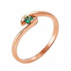 Кольцо в красном золоте Селия с изумрудом 000126787