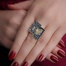 Серебряное кольцо Сплит с позолотой и чернением
