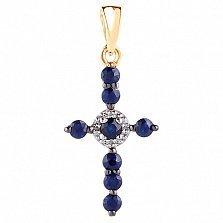 Крестик в красном золоте Восхищение с сапфиром и бриллиантами