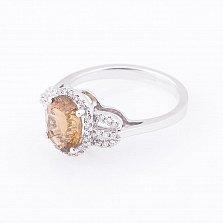 Золотое кольцо Вирджини с коньячным кварцем и бриллиантами