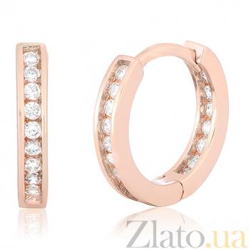 Серебряные сережки Каролина в позолоте с фианитами SLX--С3Ф/404