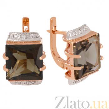 Золотые серьги с раухтопазом и фианитами Латгардис VLN--113-524-2