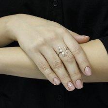 Серебряное кольцо Делайла с белым жемчугом и фианитами