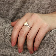 Серебряное кольцо Сладкая россыпь с желтым и белым цирконием