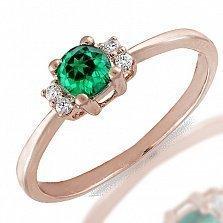 Кольцо из красного золота Британия с бриллиантами и изумрудом