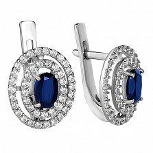 Серебряные серьги с синим сапфиром Carmen