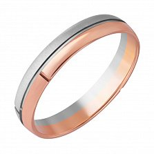 Золотое обручальное кольцо Классическая пара в комбинированном цвете