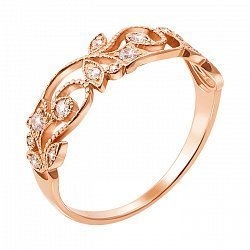Золотое кольцо с кристаллами циркония 000068256