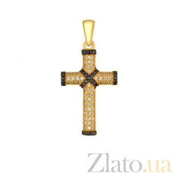 Крест из желтого золота с фианитами Спаситель VLT--ТТ3323-2