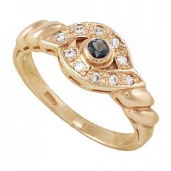 Золотое кольцо Жоржетта с синтезированным аквамарином и фианитами