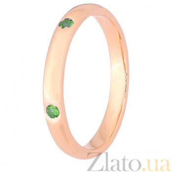 Серебряное кольцо с позолотой и зелеными фианитами Кэйтлайн 000028218