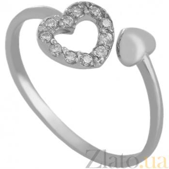 Кольцо из белого золота с фианитами Love is 000029434