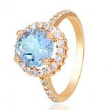 Золотое кольцо София с голубым топазом и фианитами