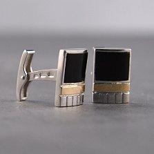 Серебряные запонки Фаворит с золотыми накладками и черным ониксом