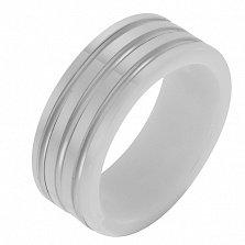 Керамическое кольцо Стильный образ со вставками белого золота