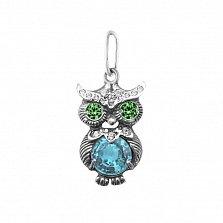 Серебряный кулон Строгая сова с зеленым, голубым и белым цирконием