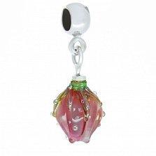 Серебряный шарм-кулон Нежный тюльпан с муранским стеклом