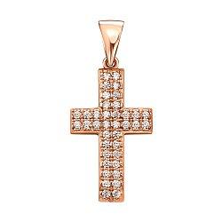 Декоративный крестик из красного золота с фианитами 000133536