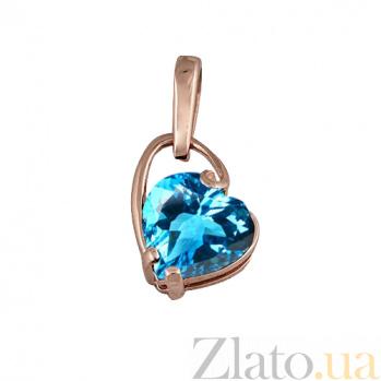 Золотой подвес с голубым топазом Небесная любовь 000023887