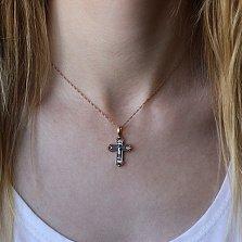 Крестик из серебра Милость Всевышнего с чернением и позолотой