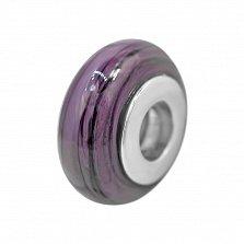 Серебряный шарм Облачный атлас с фиолетовым муранским стеклом