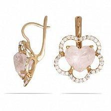 Золотые серьги Сердце цветка с розовым кварцем и фианитами
