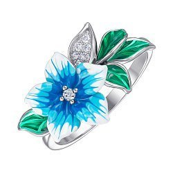 Кольцо из серебра с фианитами и эмалью 000147469