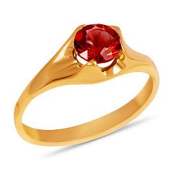 Золотое кольцо Глаз дракона с синтезированным рубином 000090130