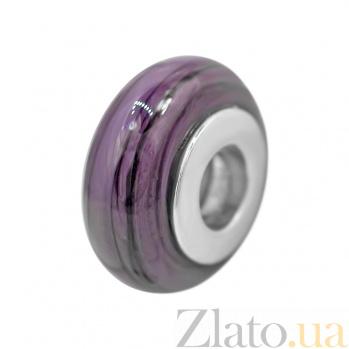Серебряный шарм Облачный атлас с фиолетовым муранским стеклом 000081716