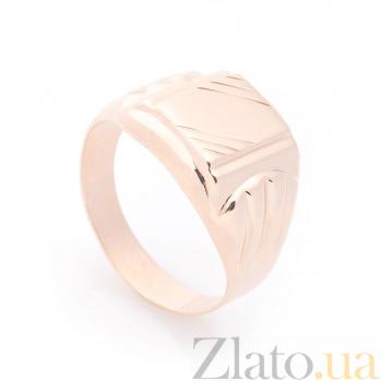 Золотой перстень-печатка Король Эдуард с узорной шинкой 000082424