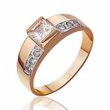 Золотое кольцо с белым цирконием Принцесса