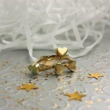 Серебряное кольцо Любовный клевер в позолоте (3 в 1)