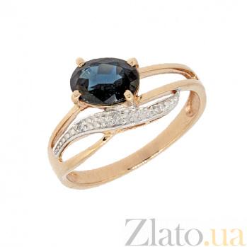 Золотое кольцо в красном цвете с бриллиантами и сапфиром Тина ZMX--RDS-6745_K