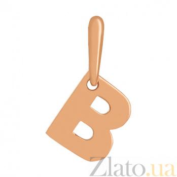 Золотая подвеска Буква В VLN--314-1730