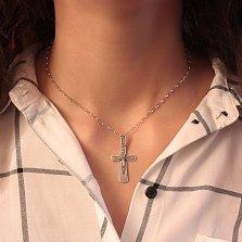 Серебряный крест Спаситель с чернением и надписью НИКА на бунтике