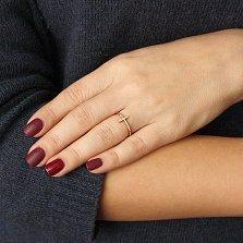 Золотое кольцо Тонкий крестик в красном цвете с фианитами
