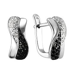 Срібні сережки з фіанітами 000141226