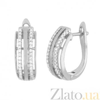 Серебряные серьги с цирконием Титания SLX--СК2Ф/213