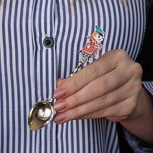 Детская серебряная чайная ложка Вовка в тридевятом царстве с разноцветной эмалью