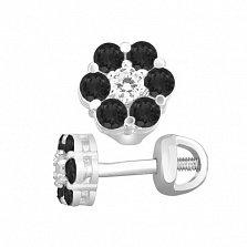 Серебряные пуссеты Очарование с цветочком из черного и белого циркония