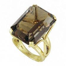 Золотое кольцо Даяна в желтом цвете с узорной шинкой и раухтопазом