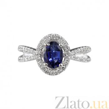 Золотое кольцо с сапфиром и бриллиантами Морской бриз 000026885