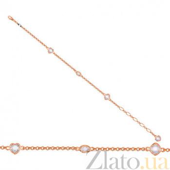 Золотой браслет Девичьи грезы с белыми фианитами VLT--Н504