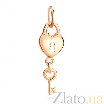 Подвеска из красного золота Ключик от сердца SUF--422448
