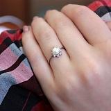 Серебряное кольцо Белое солнце с жемчугом