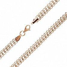 Серебряная цепочка Королевский бисмарк в позолоте с алмазной гранью, 6мм