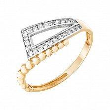 Золотое кольцо Минория с фианитами в родированных кастах